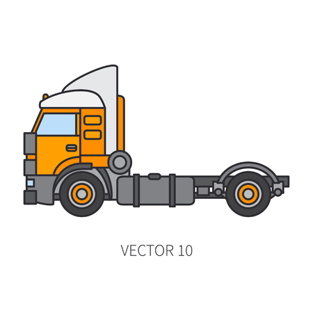 Color flat vector icon construction machinery truck container industrial style. Corporate cargo delivery, commercial transportation. Building business, engineering, diesel power illustration for design.