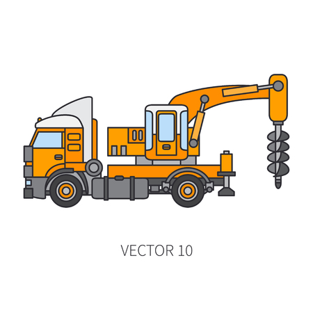 Color flat vector icon construction machinery truck bore industrial style. Corporate cargo delivery, commercial transportation. Building business, engineering, diesel power illustration for design. Illustration