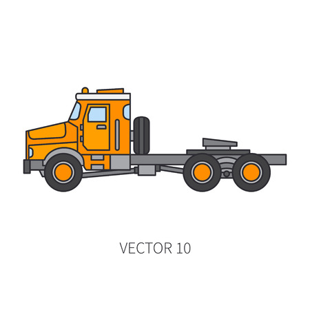 Color flat vector icon construction machinery truck tipper industrial style. Corporate cargo delivery, commercial transportation. Building business, engineering, diesel power illustration for design.