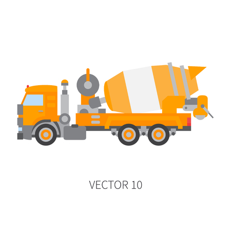 Color vector icon construction machinery truck cement mixer. Industrial style. Corporate cargo delivery. Commercial transportation. Building concrete business. Engineering. Diesel. Illustration design Illustration