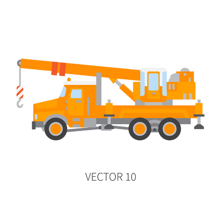 Color plain vector icon construction machinery truck auto crane. Industrial style. Corporate cargo delivery lift. Commercial transportation. Building business. Engineering. Diesel. Illustration design. Illustration