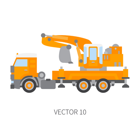 Color plain vector icon construction machinery truck excavator. Industrial style. Corporate cargo delivery. Commercial transportation. Building. Business. Engineering. Diesel. Illustration for design.