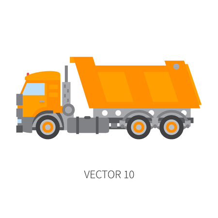 Color plain vector icon construction machinery truck tipper. Industrial retro style. Corporate cargo delivery. Commercial car transportation. Building business. Engineering. Diesel power. Illustration