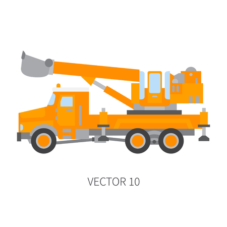 Color plain vector icon construction machinery truck excavator. Industrial retro style. Corporate cargo delivery. Commercial car transportation. Building. Business engineering. Power dig. Illustration
