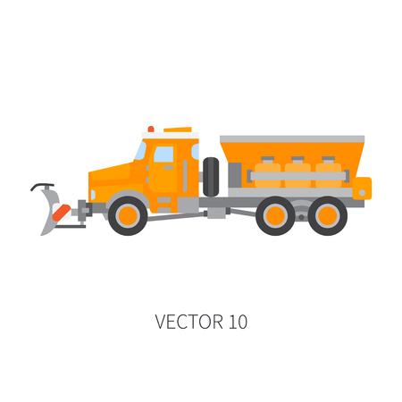 Color plain vector icon construction machinery snow plower truck tipper. Industrial style, corporate cargo delivery, snow remove shovel. Commercial transportation, business, diesel power illustration. Illustration