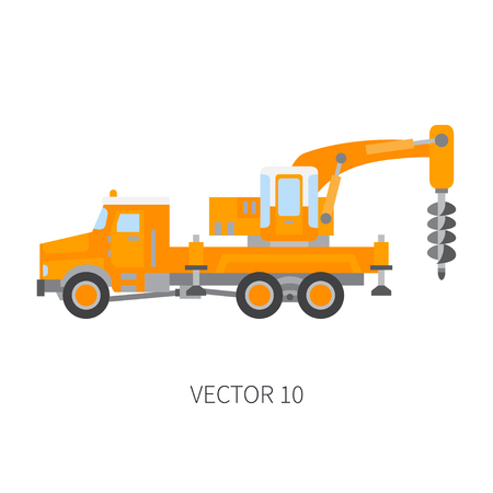 Color plain vector icon construction machinery truck boer, well. Industrial style.