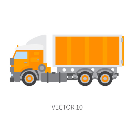 Color plain vector icon construction machinery truck container. Industrial style.