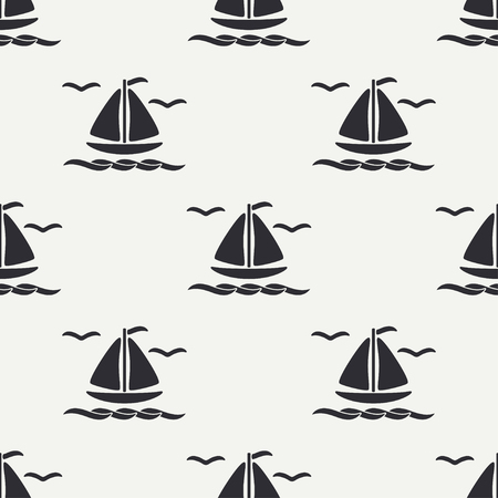 Flat line monochrome vector seamless pattern of ocean boat, sail and steering wheel. Ilustração