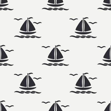 Flat line monochrome vector seamless pattern of ocean boat, sail and steering wheel. Stock Illustratie