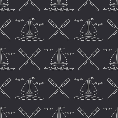 Flat line monochrome vector seamless pattern ocean boat with sail, paddle. Cartoon retro style. Regatta. Seagull. Summer vacation journey. Yacht. Illustration and element for your design wallpaper.
