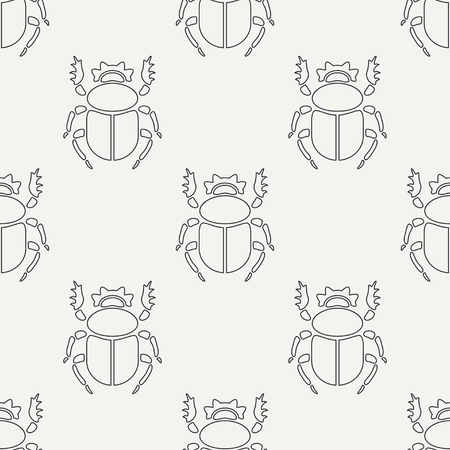 Flat line vector seamless pattern wildlife fauna bug, scarab. Simplified retro cartoon style  Insect.  イラスト・ベクター素材