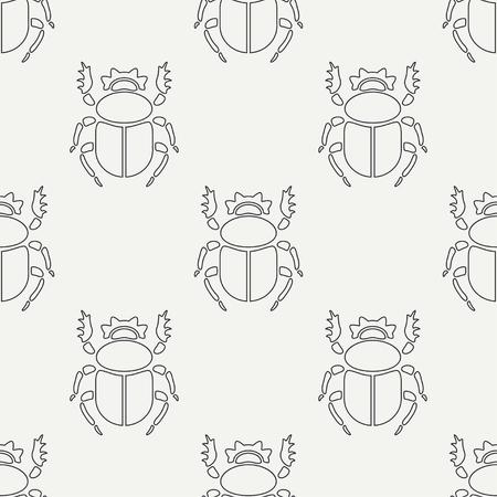 Flat line vector seamless pattern wildlife fauna bug, scarab. Simplified retro cartoon style  Insect. 일러스트