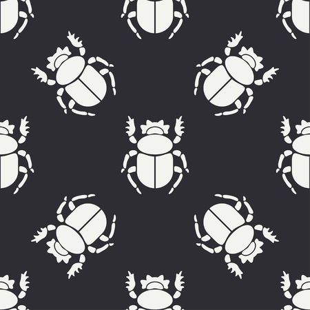 Flat line vector seamless pattern wildlife fauna bug, scarab. Simplified retro cartoon style  Insect. Illustration