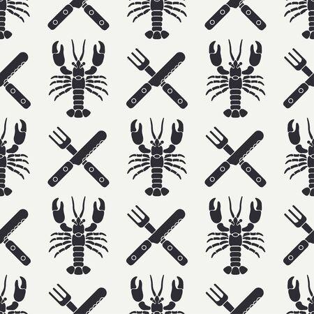 Flat line vector seamless pattern lobster, cutlery, fork, knife. Simplified retro. Cartoon style.