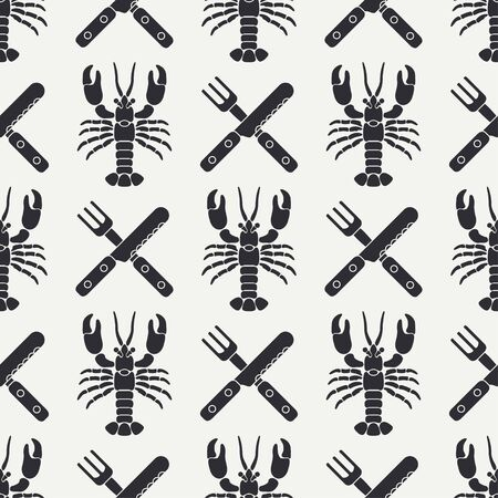 Flat line vector seamless pattern lobster, cutlery, fork, knife. Simplified retro. Cartoon style.
