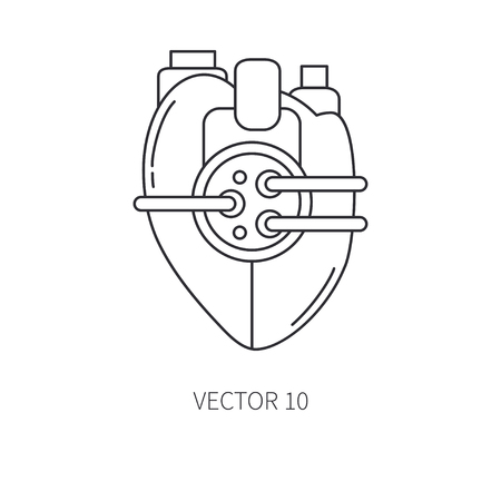 Bionic heart prosthesis line icon. Bionic prosthesis. Biotechnology futuristic medicine. Future technology. Medical artificial mechanical robot implant sign and symbol. Vector illustration. 矢量图像