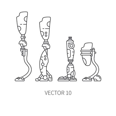 Bionic robot leg prosthesis line icon set. Bionic prosthesis limb. Biotechnology futuristic medicine. Future technology. Medical artificial mechanical robot implant sign and symbol. Transplantation. Illustration