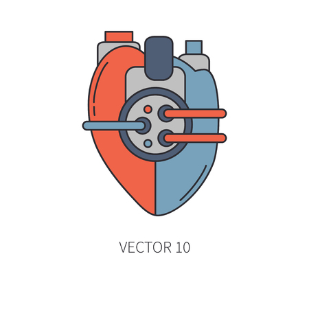 Bionic heart prosthesis color line icon. Bionic prosthesis Vector illustration.