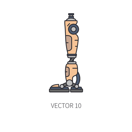 Bionic robot leg prosthesis color line icon. Vettoriali