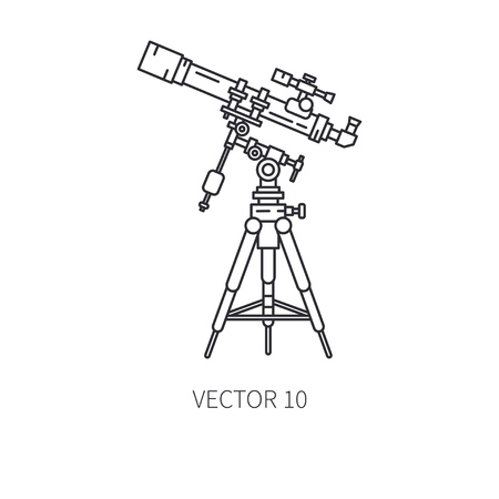 Retro astronomy lens telescope vector line icon. Summer travel vacation, tourism, camping. 1960s style. Starry night sky observe sign and symbol. Vintage optic equipmen. Hipster fashion. Lifestyle.