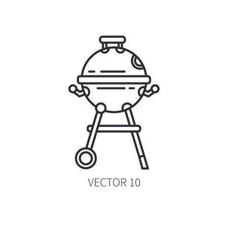 Retro furniture, compact bbq grill and smokehouse vector line icon. Summer travel vacation, tourism, camping equipment. Backyard classic lunch. Outdoor family picnic sign and symbol. Hiking. Lifestyle