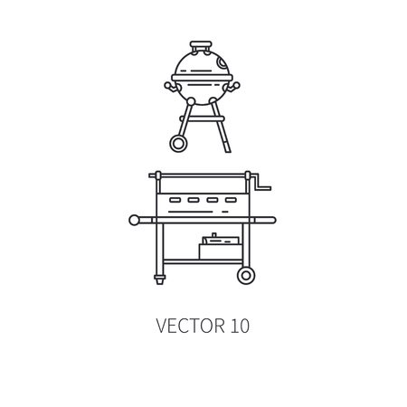 Retro furniture set compact bbq grill , smokehouse line icon. Summer travel vacation, tourism, camping equipment. Backyard classic lunch. Outdoor family picnic, party sign and symbol. Hiking lifestyle Illustration