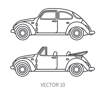 125 line art drawing antique cars stock illustrations cliparts and 1940s Volvo Cars line vector icon set retro tourism auto classic 1950s style nostalgia sub pact antique automobile