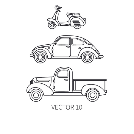 Line vector icon set retro tourism auto, scooter and pickup. Classic 1950s style. Nostalgia subcompact antique automobile. Summer travel vacation. Vintage. Highway. Rent car. Illustration for design.