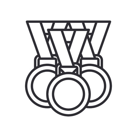Line vector olympic medal and winner award icon. Sport equipment, success symbol. Athletic competition. Championship reward, win trophy. Retro style illustration and element for your design wallpaper. Illustration
