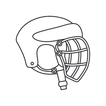 Line vector icon hockey, rugby, baseball defense helmet. Sport equipment success symbol. Head protection. Athletic competition activity. American football team game. Retro style illustration element.