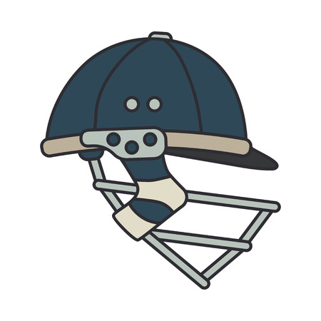 Color vector icon british cricket defense helmet. Sport equipment success symbol. Head protection. Athletic competition activity. Royal outdoor training team game. Retro style illustration and element Stock Illustratie
