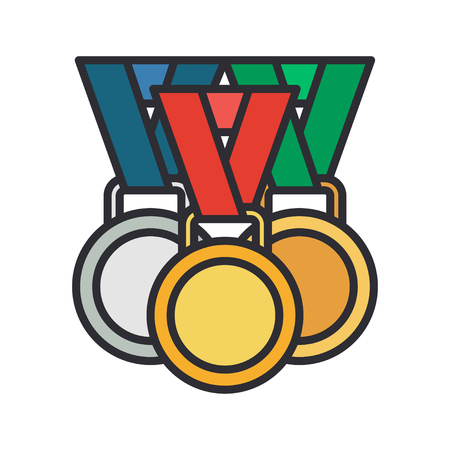 Line vector color medal and winner award icon. Sport equipment, success symbol. Athletic competition. Championship reward, win trophy. Retro style illustration and element for your design wallpaper. Illustration