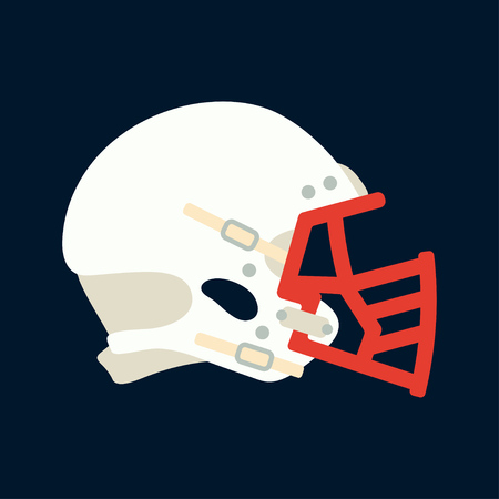 Color vector icon hockey, rugby, baseball defense helmet. Sport equipment success symbol. Head protection. Athletic competition activity. American football team game. Retro style illustration element.