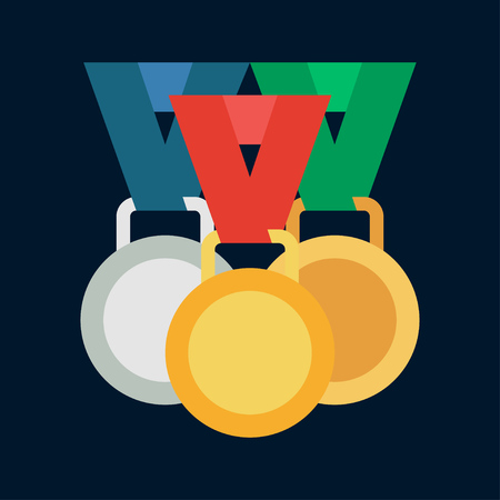 Vector color medal and winner award icon. Sport equipment, success symbol. Athletic competition. Championship reward, win trophy. Retro style illustration and element for your design wallpaper.