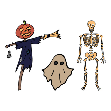 Happy halloween color vector icon evil set flying ghost, skeleton, scarecrow. Trick or treat. Cute doodle, spooky element. Graveyard, monster, fall celebration. Witchcraft magic art. Cartoon horror.