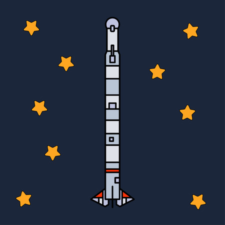 Line flat color vector icon elements of aerospace program multistage rocket. Cartoon style rocket, astronaut adventure. Spaceship technology illustration. Space investigations. Galaxy. Clipart logo.