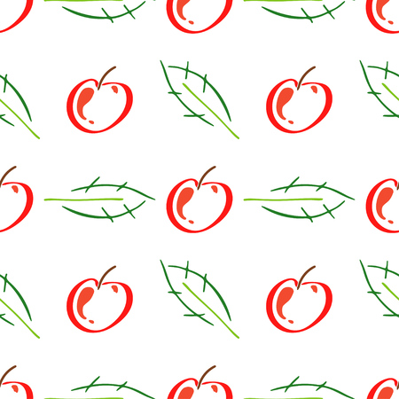 Apple fruit leaf vector color seamless pattern. Simplified retro illustration. Wrapping, scrapbook paper background.Childish cartoon style bright garden. Element for design, wallpaper, fabric printing