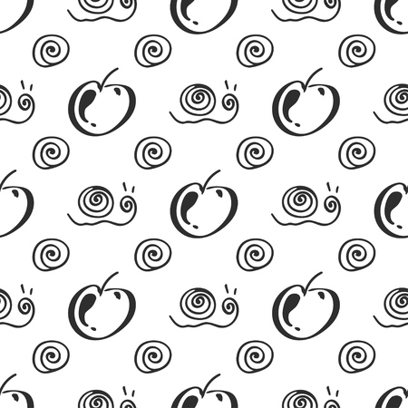 Apple fruit leaf and snail vector seamless pattern. Simplified retro illustration. Wrapping, scrapbook paper background.Childish cartoon style bright garden. Element design, wallpaper, fabric printing