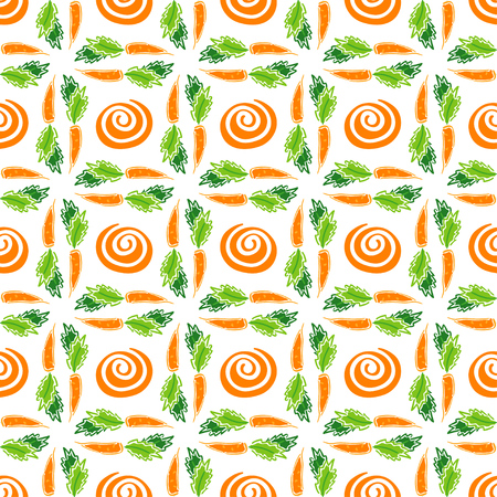 Color carrot vegetable leaf vector plain seamless pattern. Simplified retro illustration. Wrapping or scrapbook paper background.Childish style garden. Element for design, wallpaper, fabric printing. Illustration