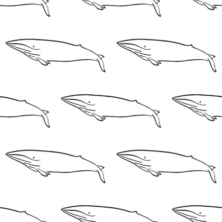Whale character abstract hand drawn vector seamless pattern. Simplified illustration. Marine mammal. Ocean and sea animal curve paint sign. Doodle line sketch. Realistic element design, fabric print.