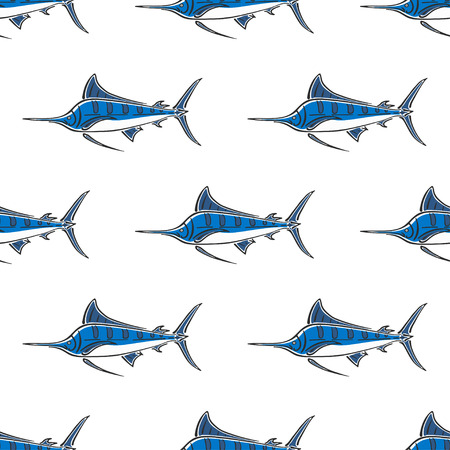 Marlin sailfish character abstract hand drawn vector seamless pattern. Simplified retro illustration. Ocean and sea animal curve paint sign. Doodle color sketch. Realistic element design, fabric print