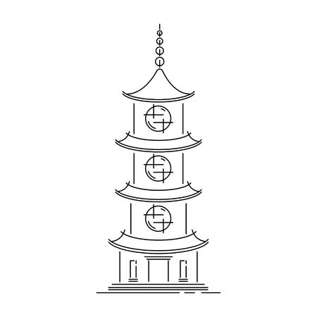Japan landmark - temple, shrine, castle, pagoda, gate vector illustration simplified travel icon. Chinese, asian landscape traditional house. Line sketch. Realistic element for design, fabric print.