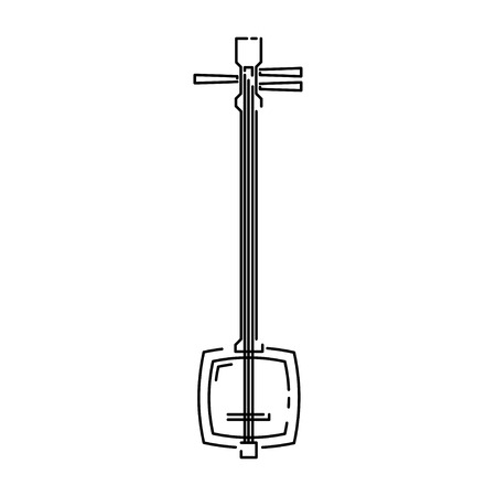 Japan traditional music instrument shamisen vector illustration simplified travel icon. Ritual shrine music. Chinese, asian traditional symbol. Line sketch. Realistic element design, fabric print. Stock Vector - 122207875