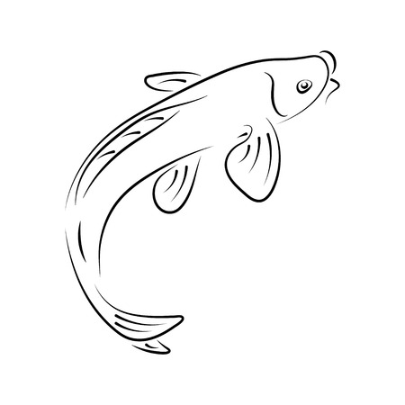 Carpe japonaise koi caractère abstrait encre dessin animé dessiné à la main. Illustration rétro. Signe de pinceau de courbe de calligraphie traditionnelle chinoise.