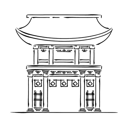 Japan landmark - temple, shrine, castle, pagoda, gate vector illustration simplified travel icon. Chinese, asian landscape traditional house. Ink brush style. Realistic element for design, print.