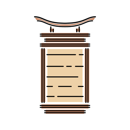 Japan landmark - temple, shrine, castle, pagoda, gate lamp vector illustration simplified color icon. Chinese, asian traditional paper lantern. Ink brush style. Realistic element design, fabric print