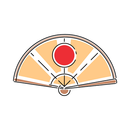 Japan shinto paper ceremony hand fan vector illustration simplified color icon. Ritual talisman. Buddha shrine. Chinese, asian traditional symbol. Ink brush style. Realistic element design, print. Illustration