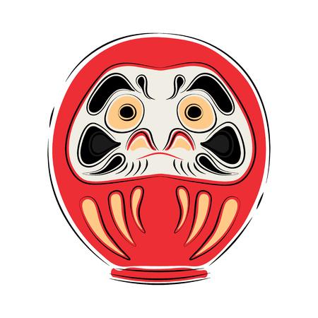 Japan shinto ceremony daruma doll vector illustration simplified color icon. Ritual talisman. Buddha shrine. Chinese, asian traditional symbol. Ink brush style.