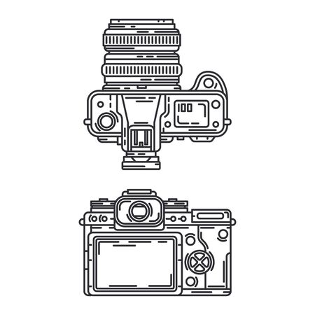 Line vector icon set digital slr professional camera. Photography art. Megapixel video camera. Cartoon style illustration, element design. Photographic lens. Snapshot equipment. Digital photo studio. Illustration