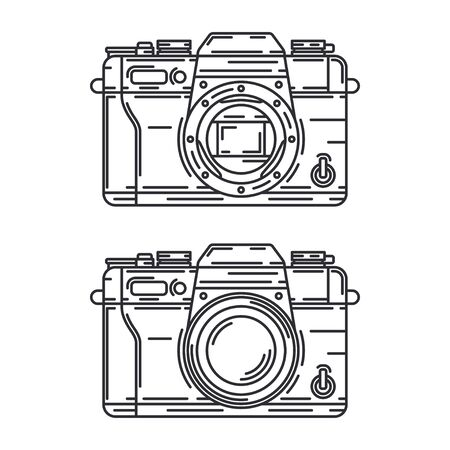Line vector icon with digital slr professional camera. Photography art. Cartoon style illustration, element design. Photographic lens. Snapshot equipment. Digital photo studio.